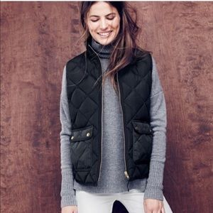 J. Crew Excursion Quilted Down Vest in Black